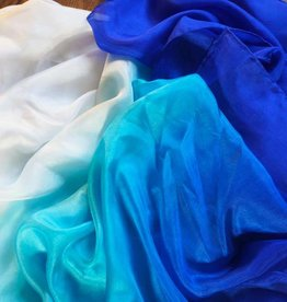Silk belly dance veil blue turquoise white