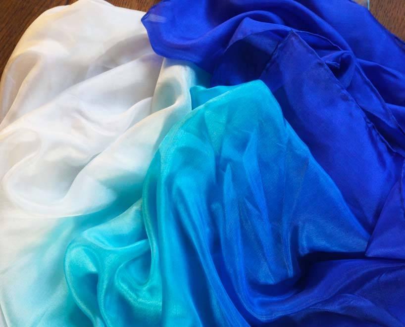 Silk belly dance veil blue turquoise white