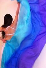 Bauchtanzschleier aus Seide in türkis-blau-lila
