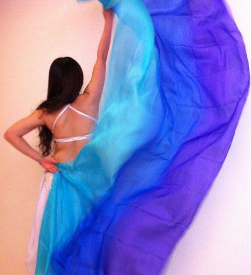 Silk belly dance veil turquoise blue purple