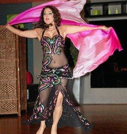 Silk belly dance veil fuchsia color gradient