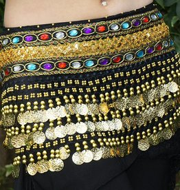 Hip scarf black with colored stones