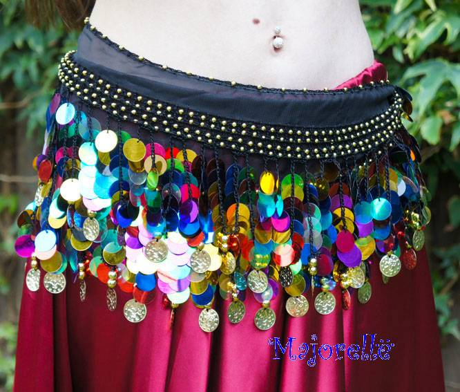 Hipscarf black with multi color coins