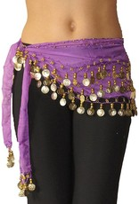 Hip scarf purple with gold coins