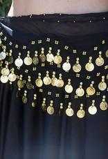 Hüfttuch schwarz mit goldenen Münzen