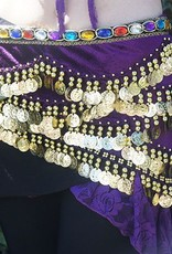Hip scarf purple with colored stones and gold coins