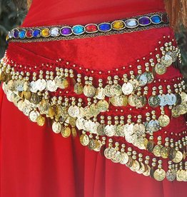 Hipscarf red with colored stones and gold coins