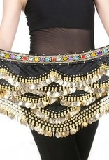 Hip scarf black with colored stones and gold coins