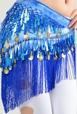 Blue hip scarf with teardrop sequins