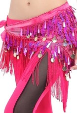 Fuchsia hip scarf with teardrop sequins