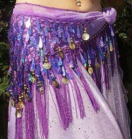 Hüfttuch mit schöne Pailletten in lila
