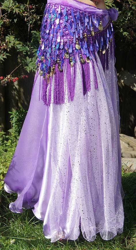 Purple hip scarf with teardrop sequins