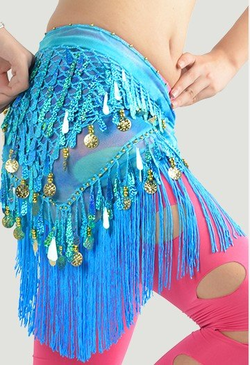 Turquoise hip scarf with teardrop sequins