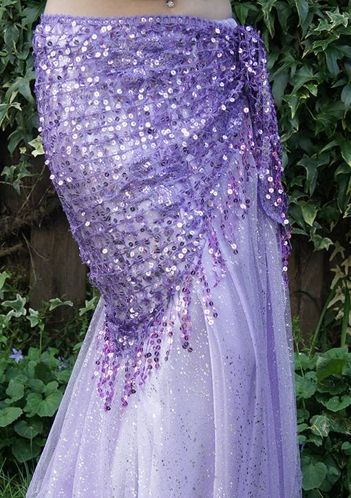 New; Hip scarf lilac with sequins