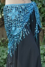 New; Hip scarf turquoise with sequins