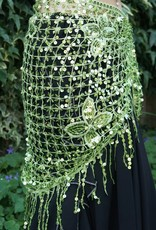New; olive green Hip scarf with sequins