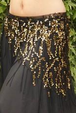 Langes Hüfttuch mit Pailletten in schwarz/gold