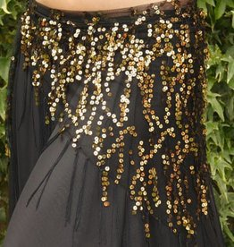 Long  black hip scarf with gold sequins