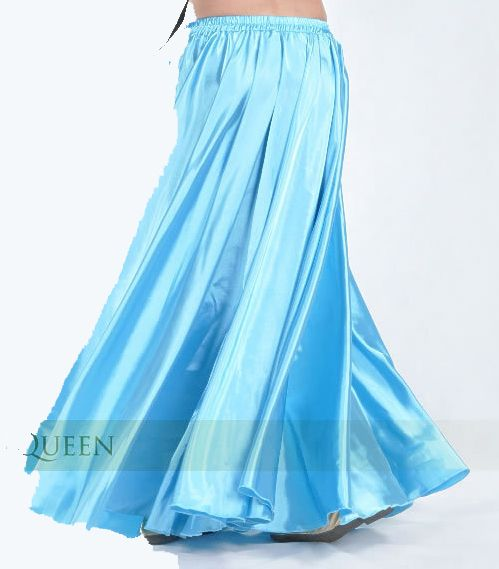Turquoise satin skirt