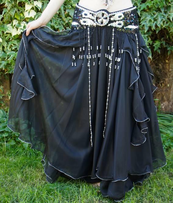 Belly dance chiffon skirt blac
