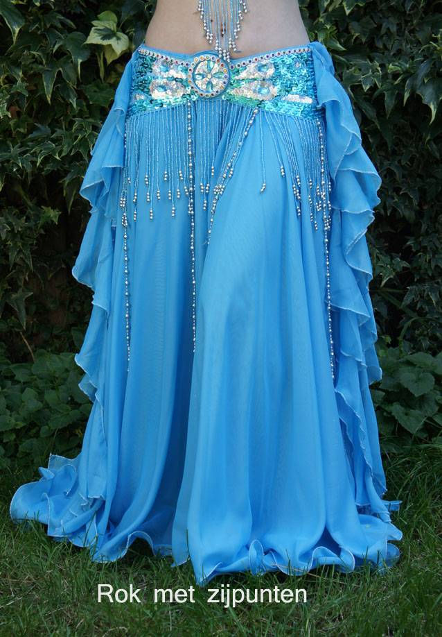 Belly dance chiffon skirt in turquoise