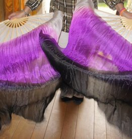Silk belly dance fan veils in white purple black