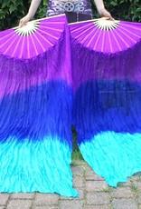 Silk belly dance fan veils in purple blue turquoise