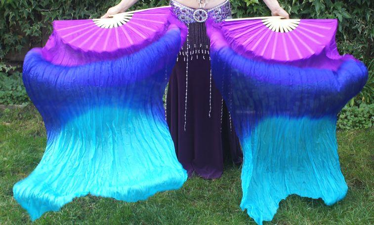 Fächerschleier aus Seide in lila-blau-türkis