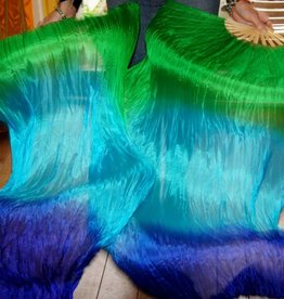 Silk belly dance fan veils in green turquoise blue