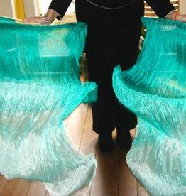 Silk belly dance fan veils peacock green to white gradient