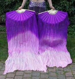 Silk belly dance fan veils purple to white gradient