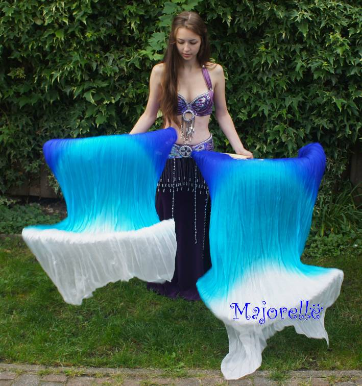 Silk belly dance fan veils in blue  turquoise white gradient