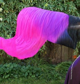 Silk belly dance fan veils black purple fuchsia