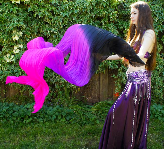 Silk belly dance fan veils black purple fuchsia