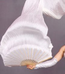 Fächerschleier / Fan-Schleier aus Seide in weiß
