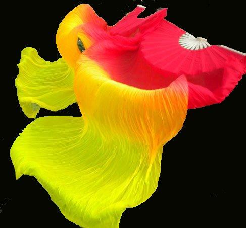 Silk belly dance fan veils red orange yellow