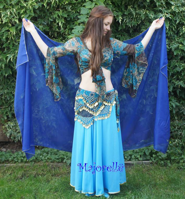 Blue chiffon veil