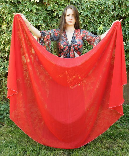 Red organza veil