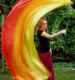 Silk belly dance poi / voi red orange yellow