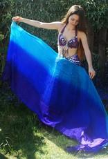 Bauchtanz Poi aus Seide in lila blau türkis