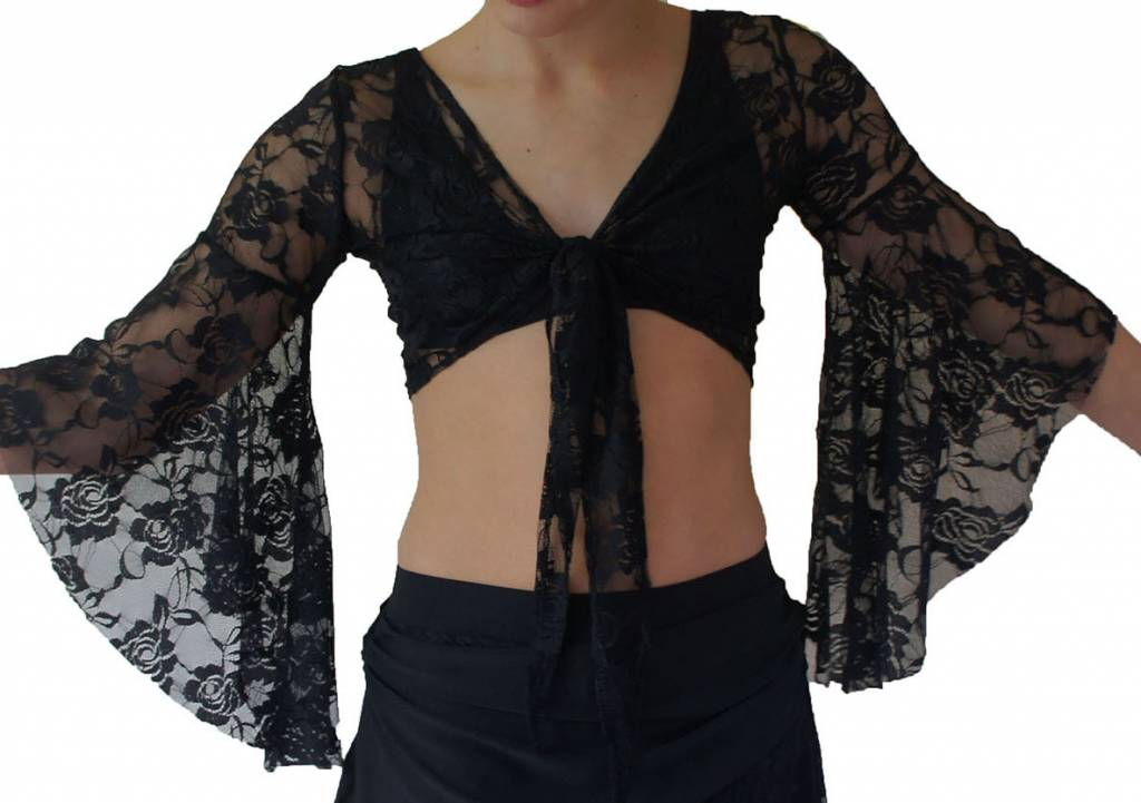 Black lace top with trumpet sleeve