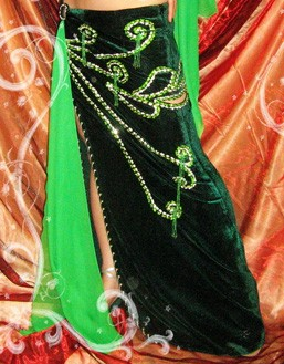 Professional belly dance costume in green/silver