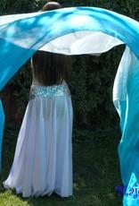 Silk belly dance veil turquoise color gradient