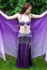 Silk belly dance veil purple color gradient
