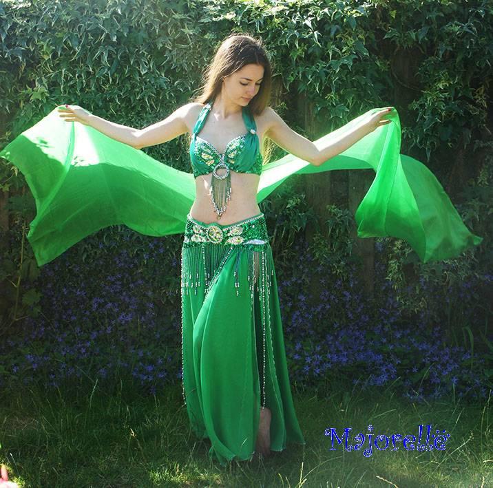 Silk belly dance veil green
