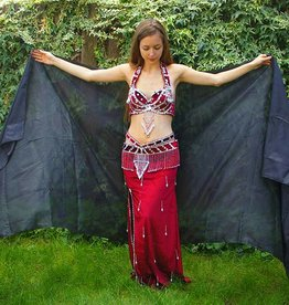 Silk belly dance veil black