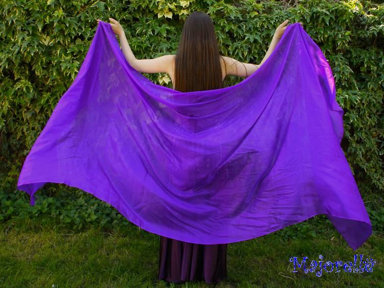 Silk belly dance veil purple