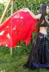 Silk belly dance veil red