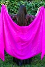 Silk belly dance veil fuchsia