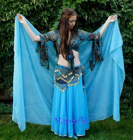 Silk belly dance veil turquoise